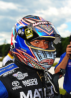Aug. 21, 2011; Brainerd, MN, USA: NHRA top fuel dragster driver Antron Brown celebrates after winning the Lucas Oil Nationals at Brainerd International Raceway. Mandatory Credit: Mark J. Rebilas-
