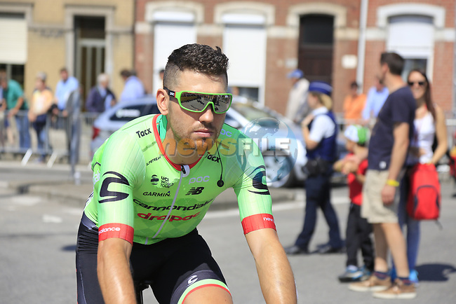 Patrick Bevin (NZL) Cannondale Drapac at sign on in Verviers before the start of Stage 3 of the 104th edition of the Tour de France 2017, running 212.5km from Verviers, Belgium to Longwy, France. 3rd July 2017.<br /> Picture: Eoin Clarke | Cyclefile<br /> <br /> <br /> All photos usage must carry mandatory copyright credit (&copy; Cyclefile | Eoin Clarke)