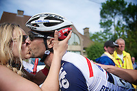winner Kenny Dehaes (BEL) gets his victory kiss by girlfriend Romina Planckaert<br /> <br /> Halle - Ingooigem 2013<br /> 197km