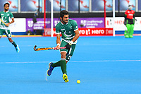 Pakistan's Abu Mahmood in action during the Hockey World League Semi-Final 5-8th place match between Pakistan and India at the Olympic Park, London, England on 24 June 2017. Photo by Steve McCarthy.