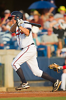 Phil Gosselin #30 of the Rome Braves follows through on his swing against the Greenville Drive at State Mutual Stadium July 24, 2010, in Rome, Georgia.  Photo by Brian Westerholt / Four Seam Images