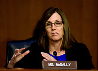 """United States Senator Martha McSally (Republican of Arizona) questions witnesses during testimony before the US Senate Committee on Armed Services during a hearing on """"Chain of Command's Accountability to Provide Safe Military Housing and Other Building Infrastructure to Service members and Their Families"""" on Capitol Hill in Washington, DC on Thursday, March 7, 2019.<br /> Credit: Ron Sachs / CNP/AdMedia"""