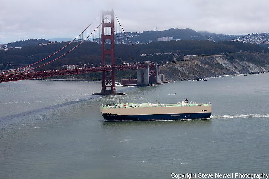 """""""Century 2"""" An cargo ship approaching the Golden Gate Bridge San Francisco, California."""