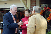 10/16/10 9:29:33 AM -- Springfield, PA<br />  -- Republican Congressional candidate Pat Meehan (L) speaks with Ron Fraatz (R), 61, and his wife Carol Fraatz (C), 59, October 16, 2010 in Springfield, Pennsylvania. Meehan faces incumbent Democrat Bryan Lentz in the Nov. 2 general election. --  Photo by William Thomas Cain/Cain Images