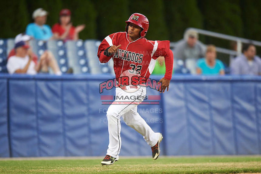 Batavia Muckdogs designated hitter Jhonny Santos (32) running the bases during a game against the Brooklyn Cyclones on July 5, 2016 at Dwyer Stadium in Batavia, New York.  Brooklyn defeated Batavia 5-1.  (Mike Janes/Four Seam Images)