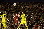 24.02.2011 Europa League Football from Anfield Liverpool v Sparta Prague. Liverpool midfielder Joe Cole (red shirt) in an aerial dual with Sparta defender Ondrej Kusnir  the second half.
