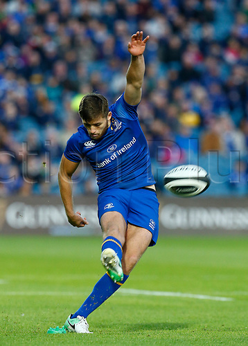 8th September 2017, RDS Arena, Dublin, Ireland; Guinness Pro14 Rugby, Leinster versus Cardiff Blues; Ross Byrne of Leinster with a penalty kick