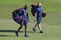 Essex head coach Anthony McGrath (R) and assistant Dimitri Mascarenhas during Nottinghamshire CCC vs Essex CCC, Specsavers County Championship Division 1 Cricket at Trent Bridge on 13th September 2018