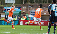 Cameron McGeehan (left) of Luton Town celebrates his goal  during the Sky Bet League 2 match between Wycombe Wanderers and Luton Town at Adams Park, High Wycombe, England on 6 February 2016. Photo by Massimo Martino.