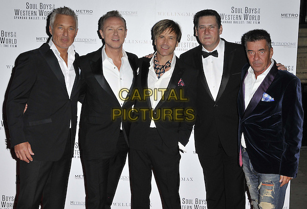 LONDON, ENGLAND - SEPTEMBER 30: Spandau Ballet ( Martin Kemp, Gary Kemp, Steve Norman, Tony Hadley &amp; John Keeble ) attend the &quot;Soul Boys Of The Western World&quot; UK film premiere, Royal Albert Hall, Kensington Gore, on Tuesday September 30, 2014 in London, England, UK. <br /> CAP/CAN<br /> &copy;Can Nguyen/Capital Pictures