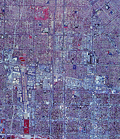 historical infrared aerial photograph of Van Nuys, California, 1989