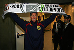 22 November 2009: Salt Lake assistant coach Brian Johnson holds up his champions scarf. Real Salt Lake defeated the Los Angeles Galaxy 5-4 on penalty kicks after the teams played to a 1-1 overtime tie at Qwest Field in Seattle, Washington in MLS Cup 2009, Major League Soccer's championship game.