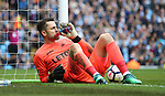 Lucas Fabianski of Swansea City takes a drink after making a double save during the premier league match at the Etihad Stadium, Manchester. Picture date 22nd April 2018. Picture credit should read: Simon Bellis/Sportimage