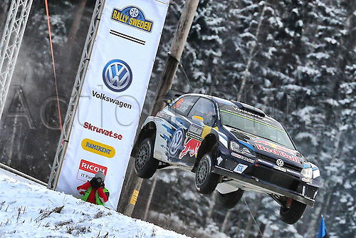 14.02.2016. Värmullsåsen, Sweden. WRC Rally of Sweden, final stage SS21.  Andreas Mikkelsen (NOR) and Jaeger Synnevag(NOR)-Volkswagen Polo WRC