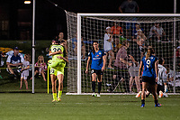 Kansas City, MO - Saturday June 17, 2017: Nahomi Kawasumi, Katlyn Johnson, celebrate, celebration during a regular season National Women's Soccer League (NWSL) match between FC Kansas City and the Seattle Reign FC at Children's Mercy Victory Field.