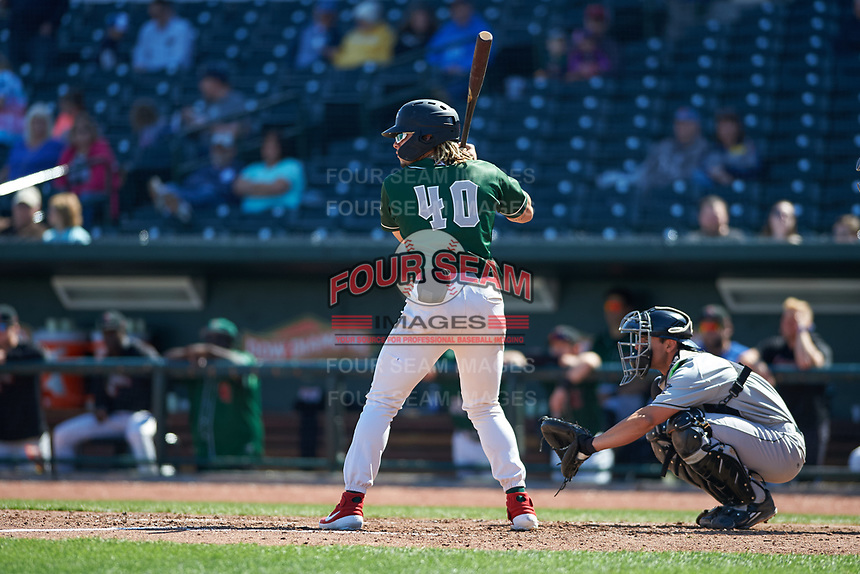 Great Lakes Loons Niko Hulsizer (40) at bat during a Midwest League game against the Wisconsin Timber Rattlers at Dow Diamond on May 4, 2019 in Midland, Michigan. Great Lakes defeated Wisconsin 5-1. (Zachary Lucy/Four Seam Images)