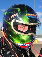 Apr. 1, 2012; Las Vegas, NV, USA: NHRA top alcohol funny car driver Tony Bartone after winning the Summitracing.com Nationals at The Strip in Las Vegas. Mandatory Credit: Mark J. Rebilas-