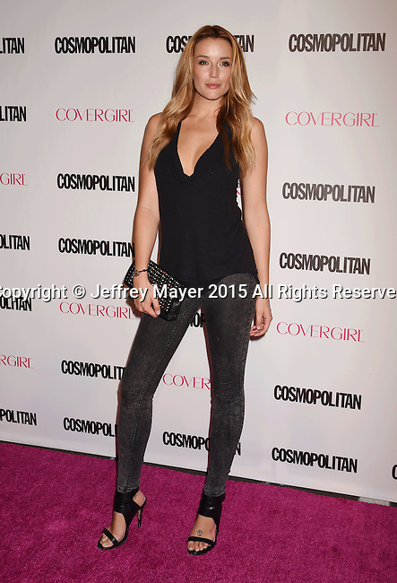 WEST HOLLYWOOD, CA - OCTOBER 12: Actress Sarah Dumont arrives at Cosmopolitan Magazine's 50th Birthday Celebration at Ysabel on October 12, 2015 in West Hollywood, California.