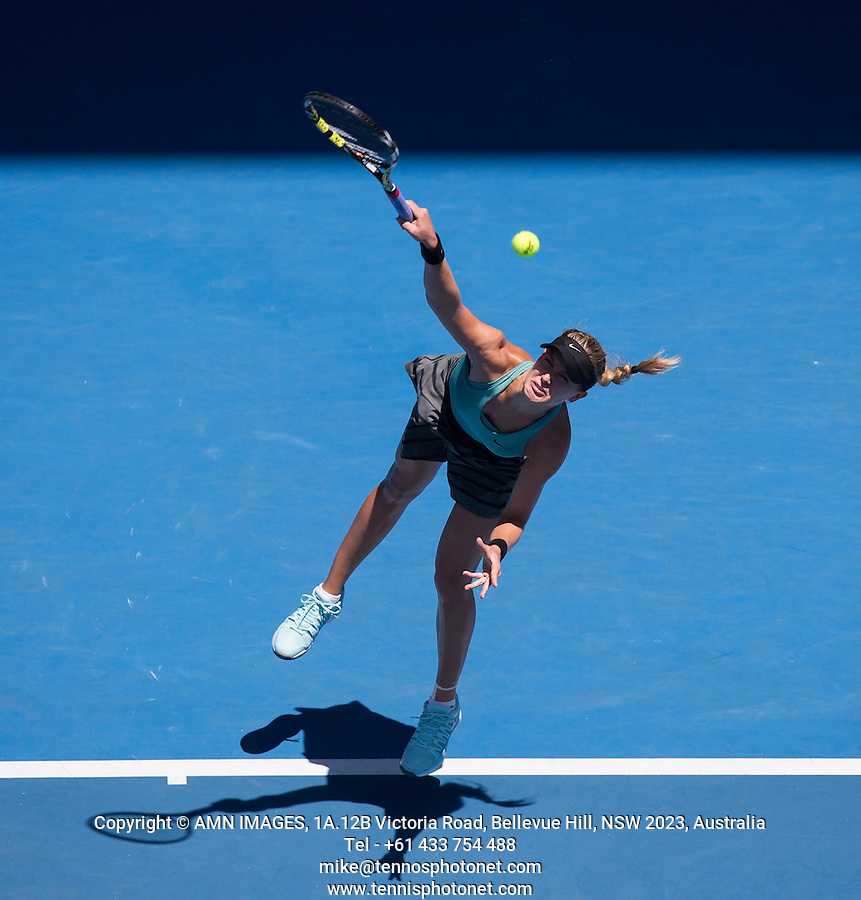 EUGENIE BOUCHARD (CAN)<br /> <br /> Tennis - Australian Open - Grand Slam -  Melbourne Park -  2014 -  Melbourne - Australia  - 23rd January 2013. <br /> <br /> &copy; AMN IMAGES, 1A.12B Victoria Road, Bellevue Hill, NSW 2023, Australia<br /> Tel - +61 433 754 488<br /> <br /> mike@tennisphotonet.com<br /> www.amnimages.com<br /> <br /> International Tennis Photo Agency - AMN Images