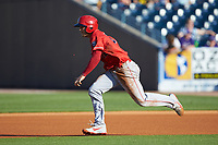 Nick Senzel (12) of the Louisville Bats takes off for second base during the game against the Toledo Mud Hens at Fifth Third Field on June 16, 2018 in Toledo, Ohio. The Mud Hens defeated the Bats 7-4.  (Brian Westerholt/Four Seam Images)