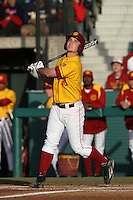 Kevin Roundtree #10 of the USC Trojans bats against the California Bears at Dedeaux Field on April 5, 2012 in Los Angeles,California. California defeated USC 5-4.(Larry Goren/Four Seam Images)
