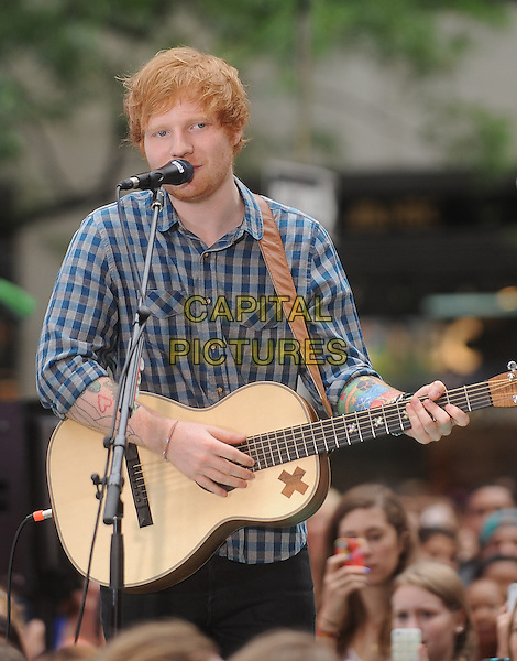 NEW YORK, NY - JULY 4: Ed Sheeran performs on NBC's Today Show Concert Series in New York City on July 4, 2014.  <br /> CAP/RTNSTV<br /> &copy;RTNSTV/MPI/Capital Pictures