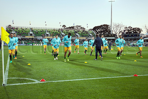 01.09.2016. nib Stadium, Perth, Australia. World Cup Football Qualifier. Australia versus Iraq. Australian players warm up before the start of the game.