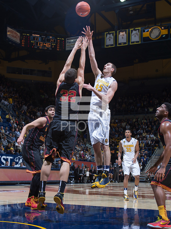 California's David Kravish shoots for the basket during a game against USC at Haas Pavilion in Berkeley, California on February 23th, 2014. California defeated USC 77 - 64