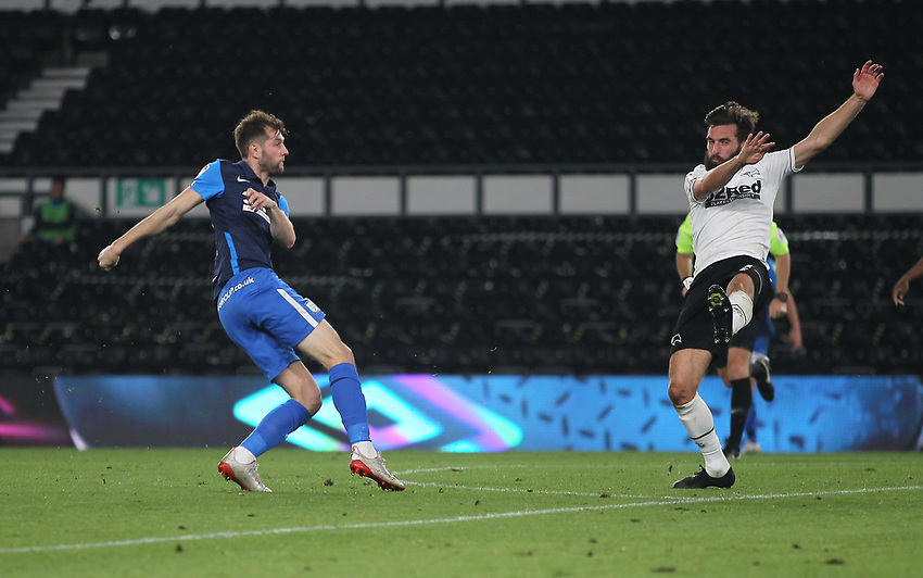 Preston North End's Tom Barkhuizen scores his side's first goal  <br /> <br /> Photographer Mick Walker/CameraSport<br /> <br /> Carabao Cup Second Round Northern Section - Derby County v Preston North End - Tuesday 15th September 2020 - Pride Park Stadium - Derby<br />  <br /> World Copyright © 2020 CameraSport. All rights reserved. 43 Linden Ave. Countesthorpe. Leicester. England. LE8 5PG - Tel: +44 (0) 116 277 4147 - admin@camerasport.com - www.camerasport.com