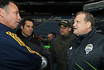 21 November 2009: Galaxy head coach Bruce Arena (left) with Seattle Sounders FC owner Drew Carey (right), Sounders FC goalkeeper Kasey Keller (2nd from right), and ESPN commentator John Harkes (2nd from left). The Los Angeles Galaxy held a training session at Qwest Field in Seattle, Washington in preparation for playing Real Salt Lake in Major League Soccer's championship game, MLS Cup 2009, the following day.