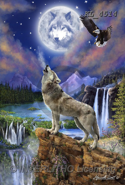 Interlitho-Marcello, REALISTIC ANIMALS, REALISTISCHE TIERE, ANIMALES REALISTICOS, paintings+++++,wolf,moon,eagle,waterfalls,KL4514,#A#, EVERYDAY ,puzzles