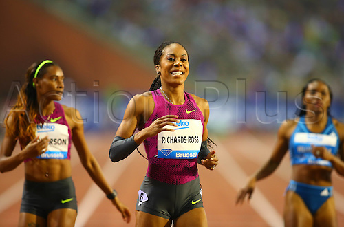 05.09.2014. Brussels, Belgium. Sania Richard-Ross (C) from the United States celebrates after for womens 400m race at the Memorial Van Damme IAAF Diamond League international athletics meeting in Brussels, Belgium, Sept. 5, 2014.
