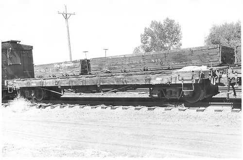 Side view of D&amp;RGW flatcar #1644 at Alamosa.<br /> D&amp;RGW  Alamosa, CO  Taken by Schnepf, Ted - 6/20/1971