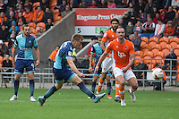 Dayle Southwell of Wycombe Wanderers has a shot during the Sky Bet League 2 match between Blackpool and Wycombe Wanderers at Bloomfield Road, Blackpool, England on 20 August 2016. Photo by James Williamson / PRiME Media Images.