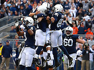 November 2, 2013  (State College, Pennsylvania)  DUPLICATE***quarterback Christian Hackenberg #14 of the Penn State Nittany Lions celebrates a touchdown with running back Bill Belton #1 and wide receiver Brandon Felder #85.  Penn State won in OT 24-17 against the Illinois Fighting Illini Nov. 2, 2013. (Photo by Don Baxter/Media Images International)