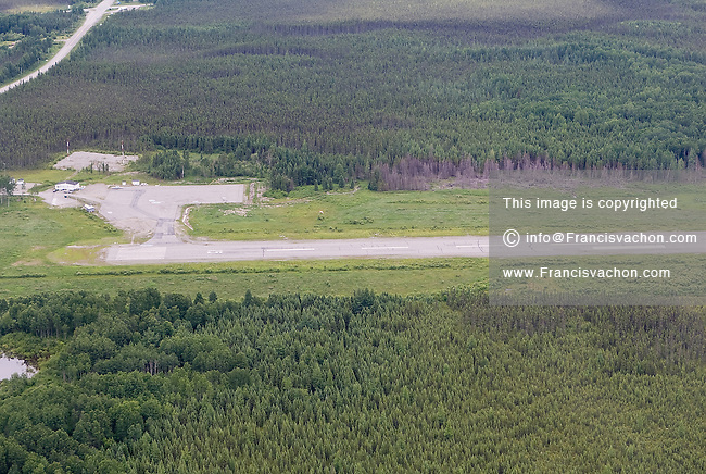 Lebel-Sur-Quevillon (QC) airport is seen from the air July 15, 2009. Domtar's pulp mill, who shut it's door in 2008, and the local sawmill, also closed, where responsible for 70% of the job in this mono industrial town of 3000 citizens located 600km north of Montreal.