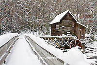 67395-04115 Bridge and Glade Creek Grist Mill in winter, Babcock State Park, WV
