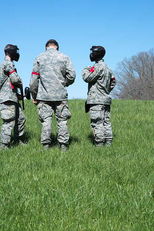 Cadets strategize for a game of capture the flag against their superiors after the Airforce ROTC's Mobile Exercise on April 16, 2016. Photo by Ohio University / Kaitlynn Stone