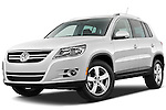 Low aggressive front three quarter view of a 2010 Volkswagen Tiguan Wolfsburg SUV  Stock Photo