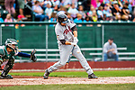 25 July 2017: Tri-City ValleyCats first baseman Jake Adams, a 6th round draft pick for the Houston Astros, in action against the Vermont Lake Monsters at Centennial Field in Burlington, Vermont. The Lake Monsters defeated the ValleyCats 11-3 in NY Penn League action. Mandatory Credit: Ed Wolfstein Photo *** RAW (NEF) Image File Available ***
