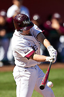 Brent Seifert (4) of the Missouri State Bears makes contact on a pitch during a game against the Southern Illinois University- Edwardsville Cougars at  Hammons Field on March 10, 2012 in Springfield, Missouri. (David Welker / Four Seam Images)