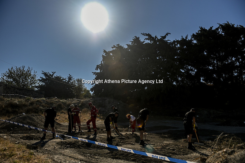 "FAO JANET TOMLINSON, DAILY MAIL <br /> Pictured: Special forensics police officers search a field in Kos, Greece. Friday 30 September 2016<br /> Re: Police teams searching for missing toddler Ben Needham on the Greek island of Kos have said they are ""optimistic"" about new excavation work.<br /> Ben, from Sheffield, was 21 months old when he disappeared on 24 July 1991 during a family holiday.<br /> Digging has begun at a new site after a fresh line of inquiry suggested he could have been crushed by a digger.<br /> South Yorkshire Police (SYP) said it continued to keep an ""open mind"" about what happened to Ben."