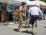 "People dancing to the music of, ""Too Lazy Boys"" (at left) playing at the Saugerties Farmer's Market, at 115 Main Street, Saugerties, NY, on Satursday, June 24, 2017. Photo by Jim Peppler. Copyright/Jim Peppler-2017."