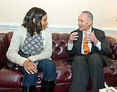 United States Senator Chuck Schumer (Democrat of New York), right, meets his guest at the State of the Union, Vanessa Fontaine, left, in his office in the U.S. Capitol in Washington, D.C. on Tuesday, January 20, 2015.  Ms Fontaine is the mother of Avonte Oquendo, a 14-year-old boy with a diagnosis of Autism Spectrum Disorder (ASD) who disappeared from his school in Queens, New York, and whose remains were tragically discovered three months later on January 16th in College Point, Queens, New York. <br /> Credit: Ron Sachs / CNP<br /> (RESTRICTION: NO New York or New Jersey Newspapers or newspapers within a 75 mile radius of New York City)