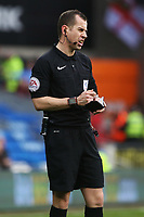 Referee Peter Bankes during the Sky Bet Championship match between Cardiff City and Birmingham City at the Cardiff City Stadium, Wales, UK. Saturday 10 March 2018