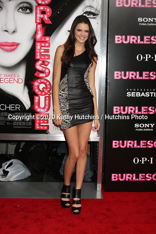 """LOS ANGELES - NOV 15:  Kendall Jenner arrives at the """"Burlesque"""" LA Premiere  at Grauman's Chinese Theater on November 15, 2010 in Los Angeles, CA"""