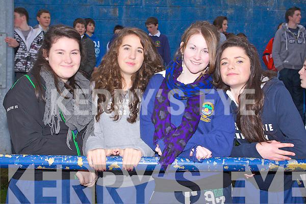 SUPPORT: Supporting the PS Chorcha Dhuibhne team at the O'Sullivan Cup Schools Final at the Strand Road, Tralee on Friday l-r: Róisín Ní Bhruic, Áine Ní Chathalláin and Naomi Ní Chcrráin..