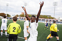 Mishawaka Marian's Jordan Morris (10) celebrates a win against Providence in the IHSAA Class A Boys Soccer State Championship Game on Saturday, Oct. 29, 2016, at Carroll Stadium in Indianapolis. Marian won 4-0. Special to the Tribune/JAMES BROSHER