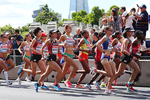 (L to R) <br /> Risa Shigetomo, <br /> Mao Kiyota, <br /> Yuka Ando (JPN), <br /> AUGUST 6, 2017 - Athletics : <br /> IAAF World Championships London 2017 <br /> Women's Marathon <br /> in London, UK. <br /> (Photo by YUTAKA/AFLO SPORT)