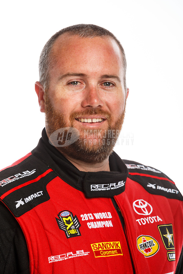 Feb 10, 2016; Pomona, CA, USA; NHRA top fuel driver Shawn Langdon poses for a portrait during media day at Auto Club Raceway at Pomona. Mandatory Credit: Mark J. Rebilas-USA TODAY Sports